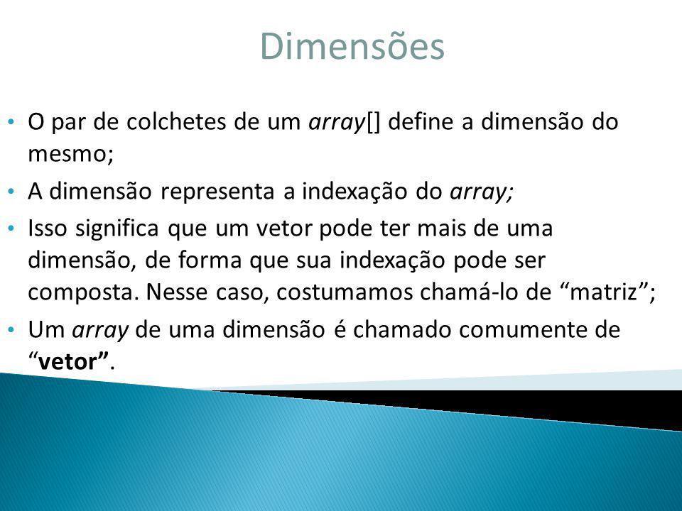 Dimensões O par de colchetes de um array[] define a dimensão do mesmo;